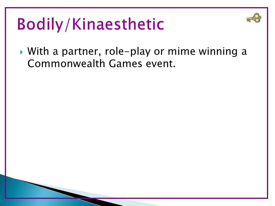  With a partner, role-play or mime winning a Commonwealth Games event.