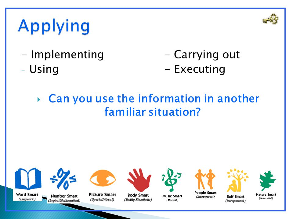 - Implementing- Carrying out - Using- Executing  Can you use the information in another familiar situation