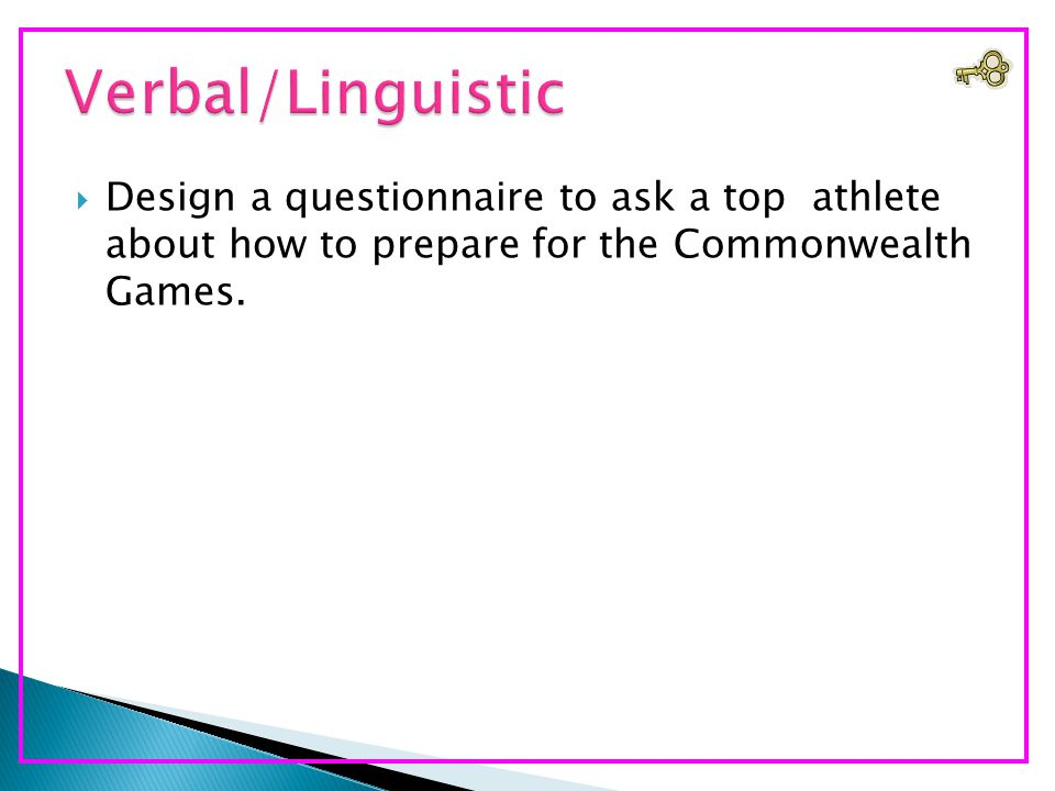  Design a questionnaire to ask a top athlete about how to prepare for the Commonwealth Games.