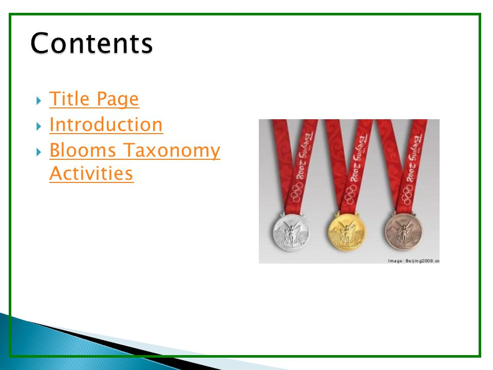  Title Page Title Page  Introduction Introduction  Blooms Taxonomy Activities Blooms Taxonomy Activities