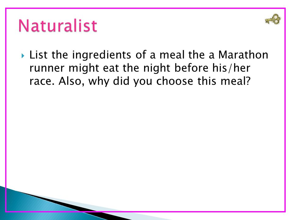  List the ingredients of a meal the a Marathon runner might eat the night before his/her race.