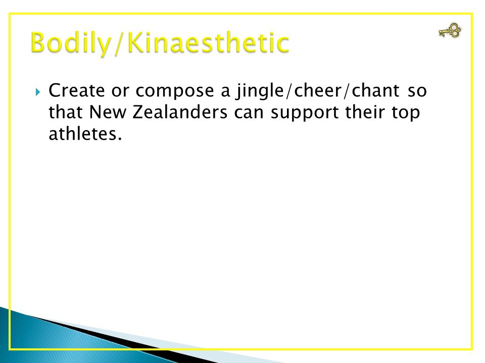  Create or compose a jingle/cheer/chant so that New Zealanders can support their top athletes.
