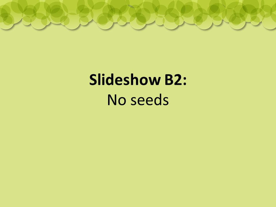 Slideshow B2: No seeds