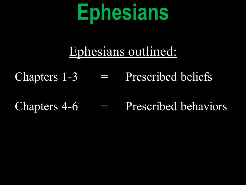 Ephesians outlined: Chapters 1-3=Prescribed beliefs Chapters 4-6=Prescribed behaviors Ephesians outlined: Chapters 1-3=Prescribed beliefs Chapters 4-6=Prescribed behaviors Ephesians