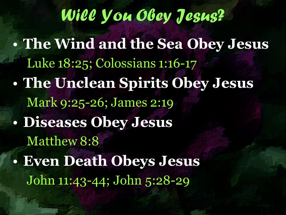 Will You Obey Jesus.
