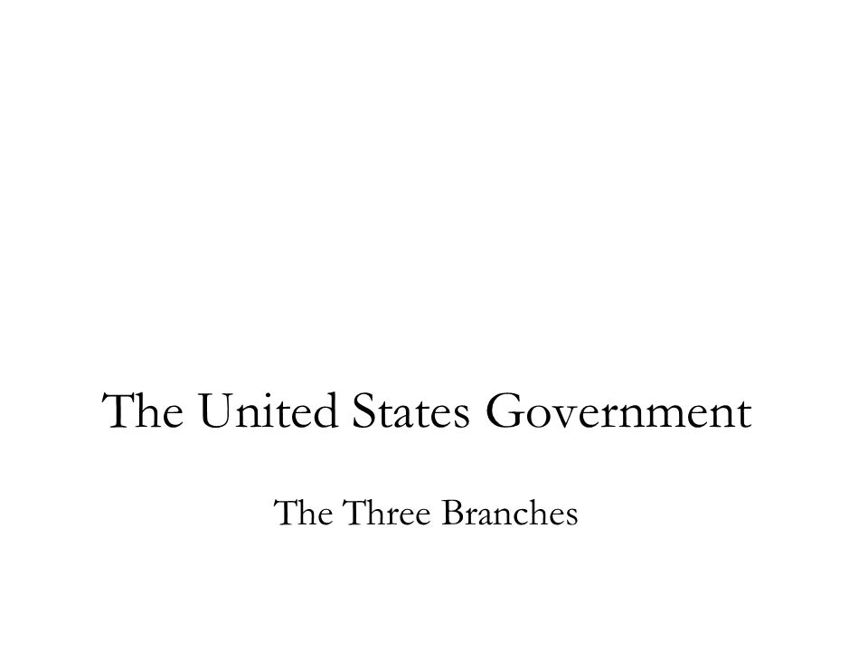 The United States Government The Three Branches