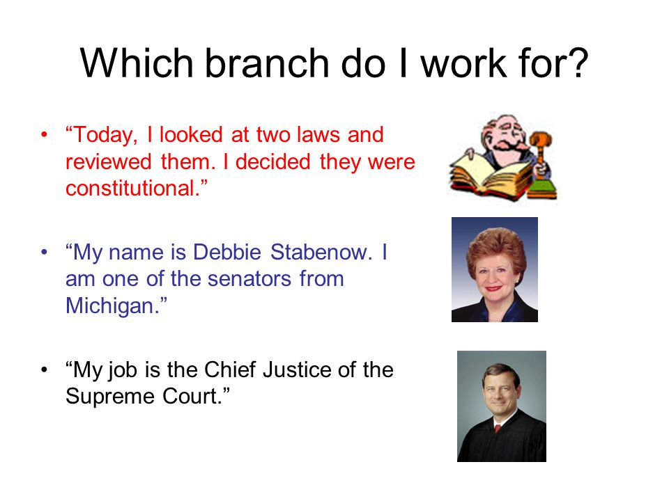 """Which branch do I work for? """"Today, I looked at two laws and reviewed them. I decided they were constitutional."""" """"My name is Debbie Stabenow. I am one"""