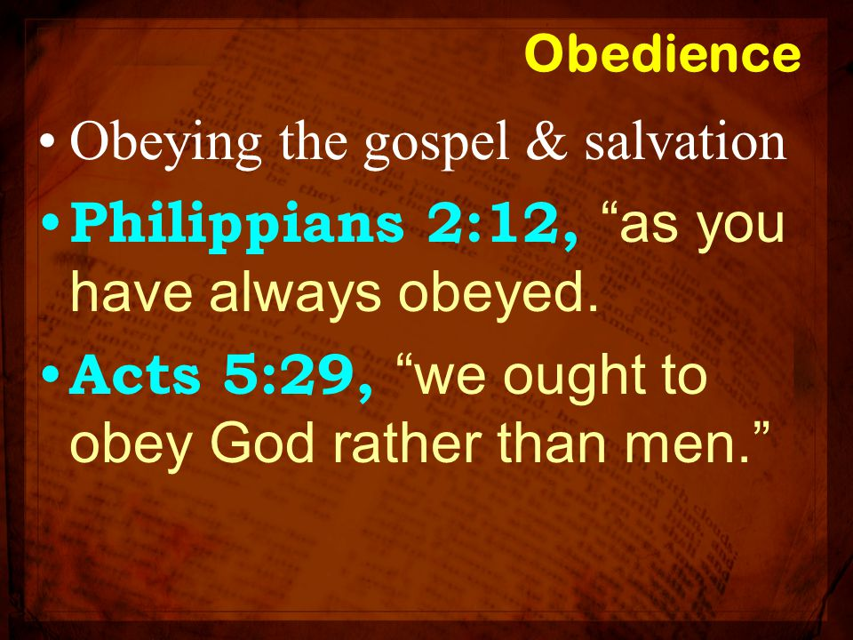 """Obedience Obeying the gospel & salvation Philippians 2:12, """"as you have always obeyed. Acts 5:29, """"we ought to obey God rather than men."""""""