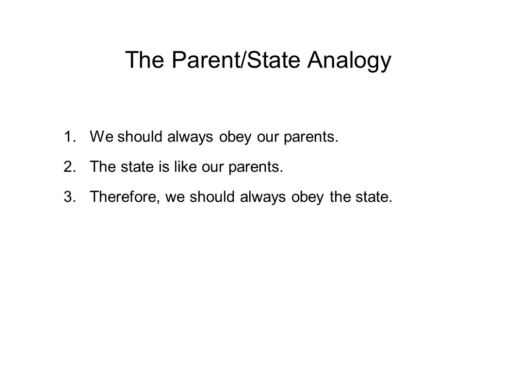 The Parent/State Analogy 1.We should always obey our parents.