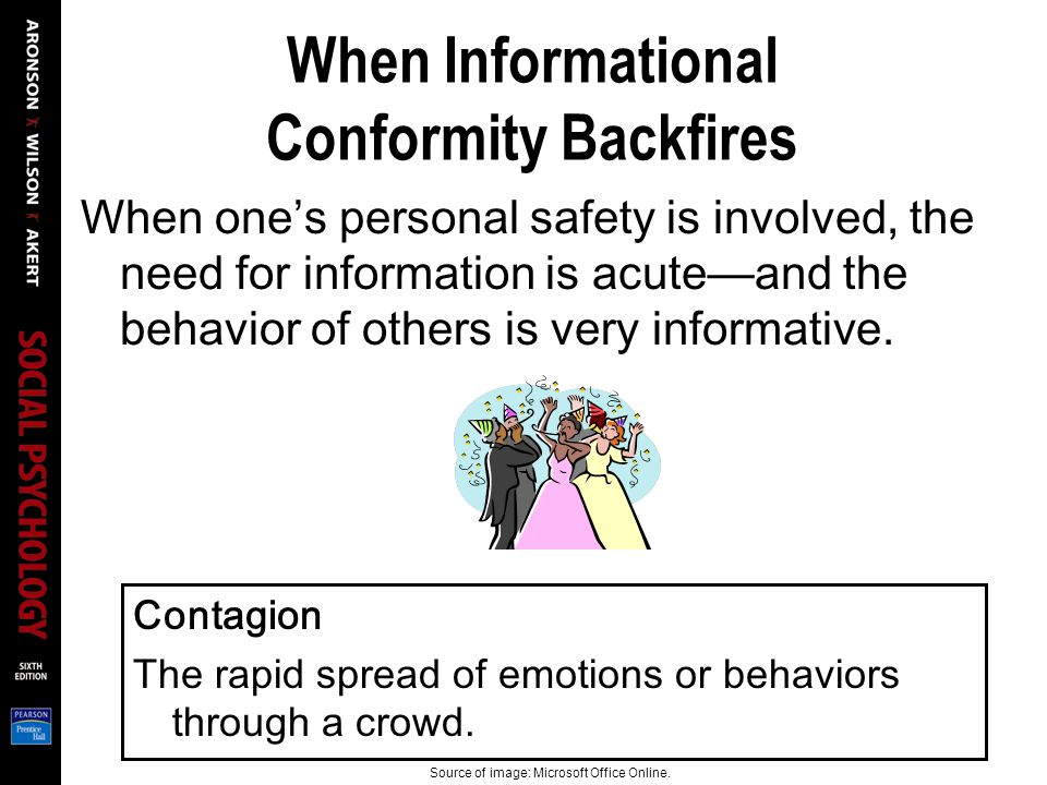 When Informational Conformity Backfires When one's personal safety is involved, the need for information is acute—and the behavior of others is very informative.