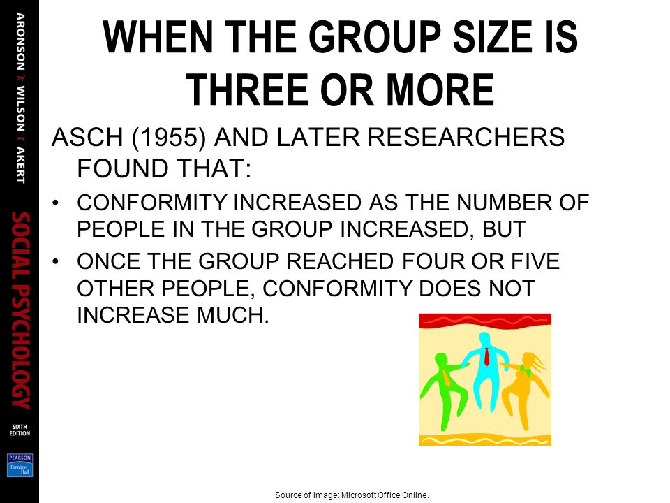 WHEN THE GROUP SIZE IS THREE OR MORE ASCH (1955) AND LATER RESEARCHERS FOUND THAT: CONFORMITY INCREASED AS THE NUMBER OF PEOPLE IN THE GROUP INCREASED, BUT ONCE THE GROUP REACHED FOUR OR FIVE OTHER PEOPLE, CONFORMITY DOES NOT INCREASE MUCH.