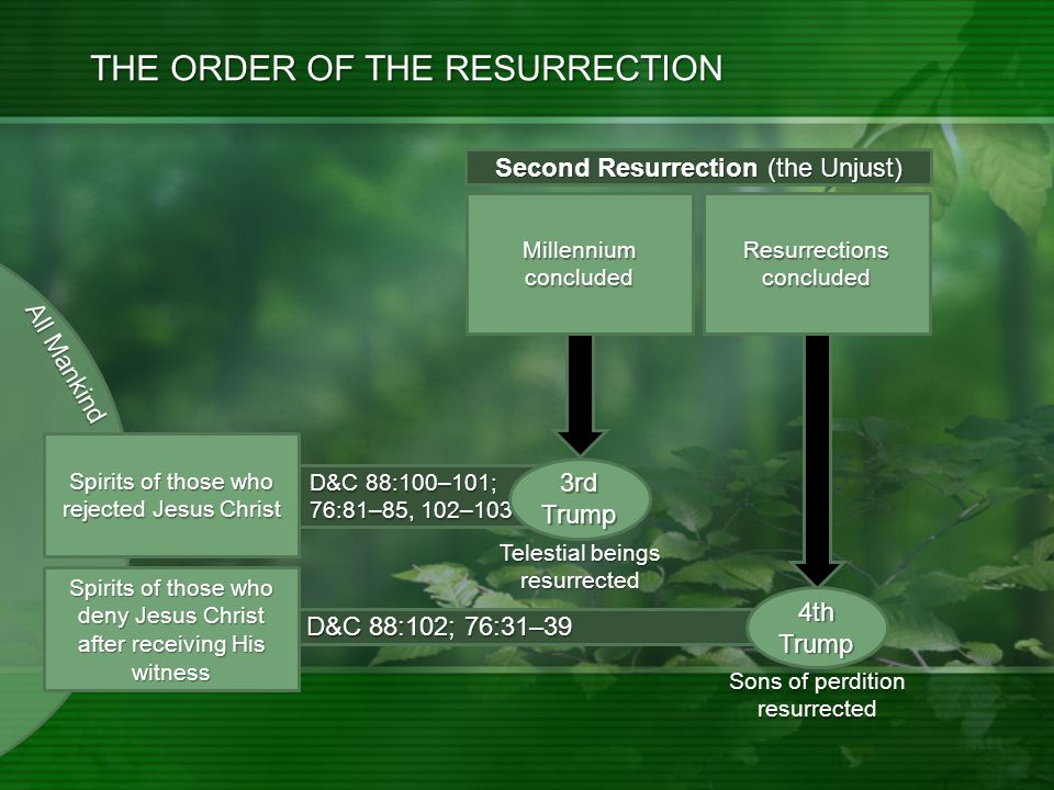 All Mankind D&C 88:102; 76:31–39 D&C 88:100–101; 76:81–85, 102–103 THE ORDER OF THE RESURRECTION Millennium concluded Resurrections concluded 3rd Trump 4th Trump Sons of perdition resurrected Second Resurrection (the Unjust) Telestial beings resurrected Spirits of those who deny Jesus Christ after receiving His witness Spirits of those who rejected Jesus Christ