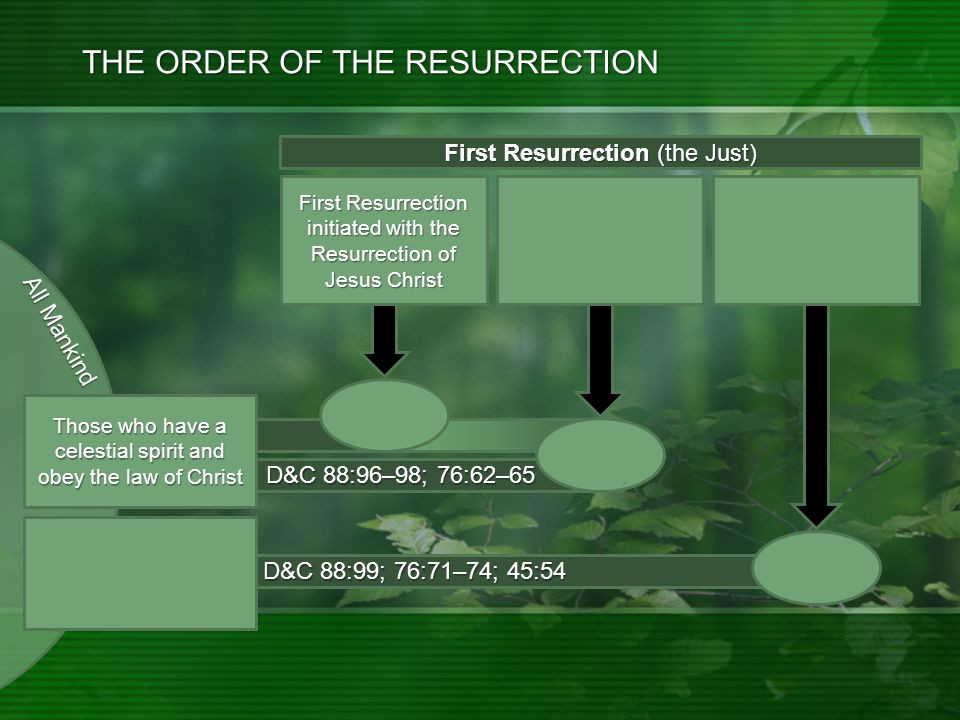 D&C 88:99; 76:71–74; 45:54 D&C 88:96–98; 76:62–65 THE ORDER OF THE RESURRECTION First Resurrection (the Just) First Resurrection initiated with the Resurrection of Jesus Christ Second Coming: Millennium Begins: Morning of the 1 st Resurrection Continues.