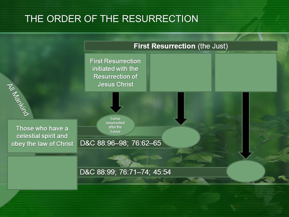 D&C 88:99; 76:71–74; 45:54 D&C 88:96–98; 76:62–65 THE ORDER OF THE RESURRECTION First Resurrection initiated with the Resurrection of Jesus Christ Second Coming: Millennium Begins: Morning of the 1 st Resurrection Continues.