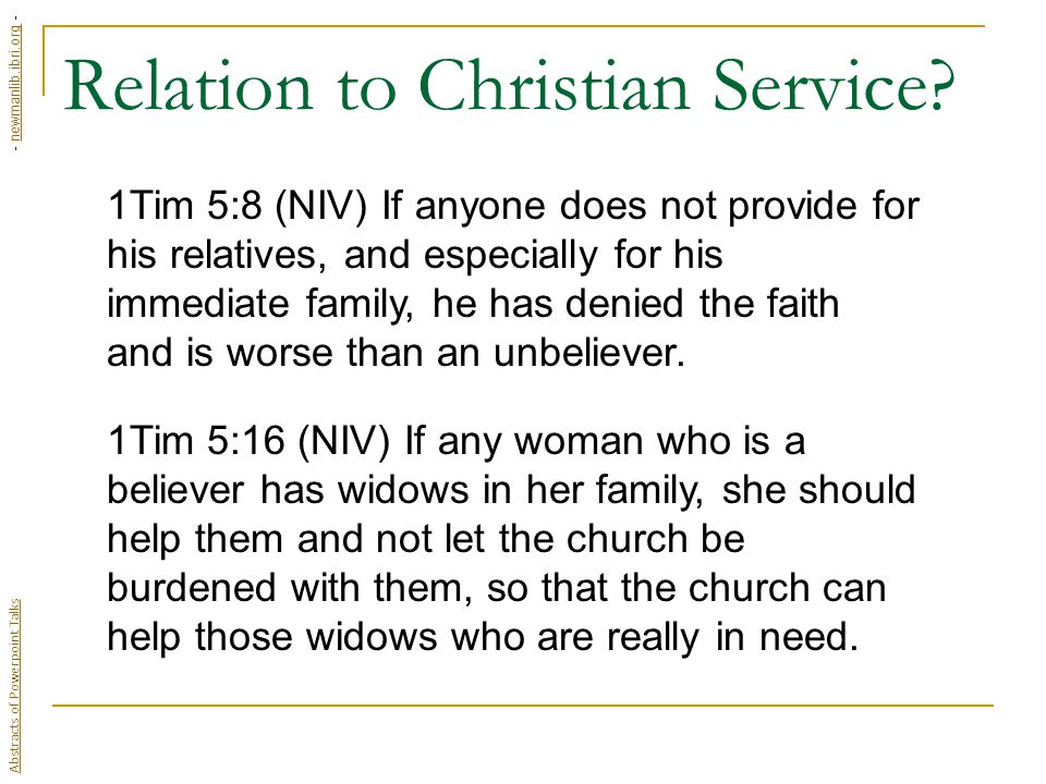 Relation to Christian Service.