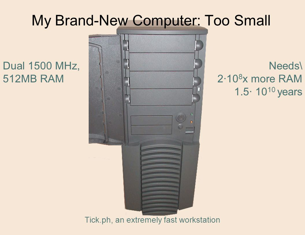 My Brand-New Computer: Too Small Tick.ph, an extremely fast workstation Needs\ 2·10 8 x more RAM 1.5· 10 10 years Dual 1500 MHz, 512MB RAM