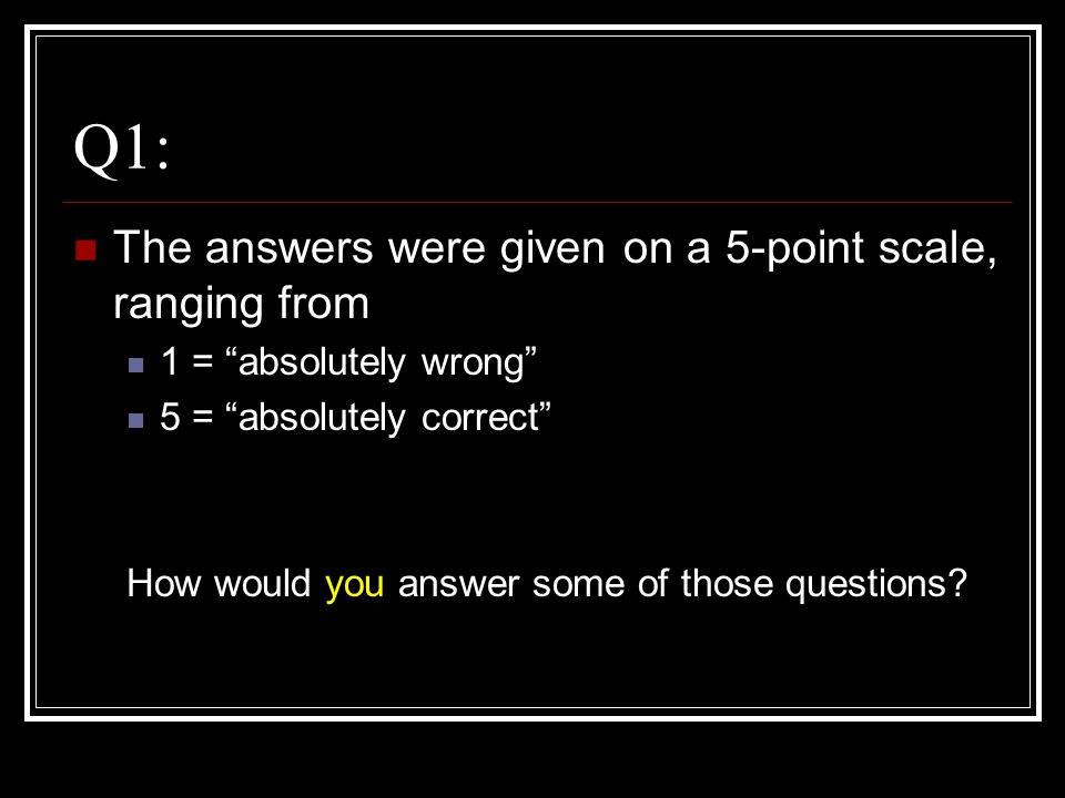 "Q1: The answers were given on a 5-point scale, ranging from 1 = ""absolutely wrong"" 5 = ""absolutely correct"" How would you answer some of those questio"