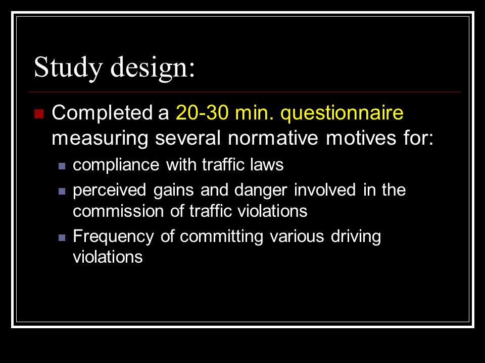 Quantitative Explanatory Variable #4 (Q4): Gains relating to traffic violations were measured with a list of eight motives related to the commission of a traffic violation, including: arriving quickly feeling in control/challenged getting ahead of other drivers adding interest to driving