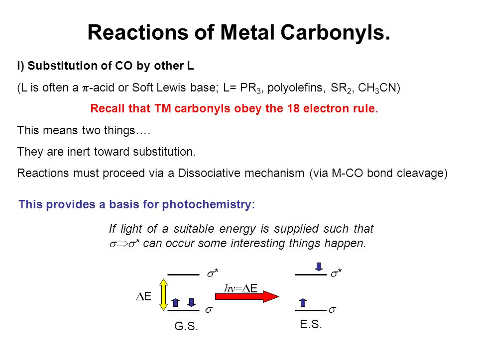Reactions of Metal Carbonyls. i) Substitution of CO by other L (L is often a  -acid or Soft Lewis base; L= PR 3, polyolefins, SR 2, CH 3 CN) Recall t