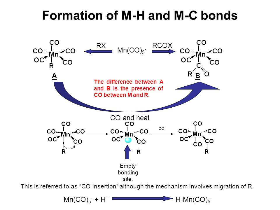 Mn(CO) 5 - RX A Formation of M-H and M-C bonds B RCOX The difference between A and B is the presence of CO between M and R. CO and heat Empty bonding