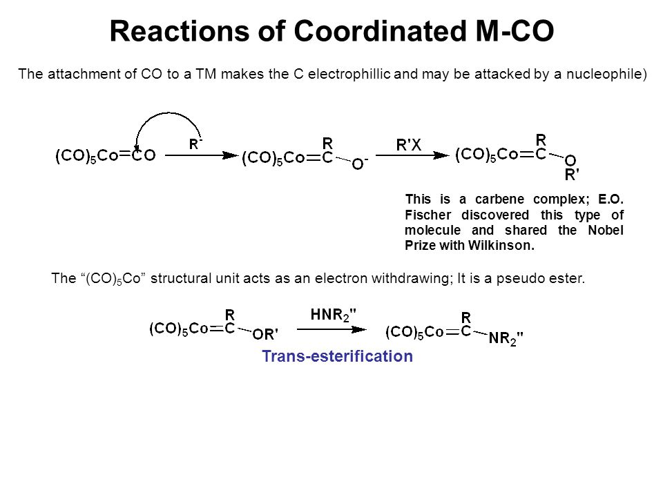 Reactions of Coordinated M-CO The attachment of CO to a TM makes the C electrophillic and may be attacked by a nucleophile) This is a carbene complex;