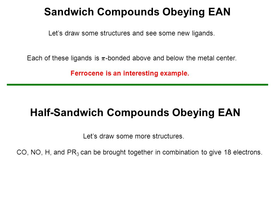 Sandwich Compounds Obeying EAN Let's draw some structures and see some new ligands. Each of these ligands is  -bonded above and below the metal cente