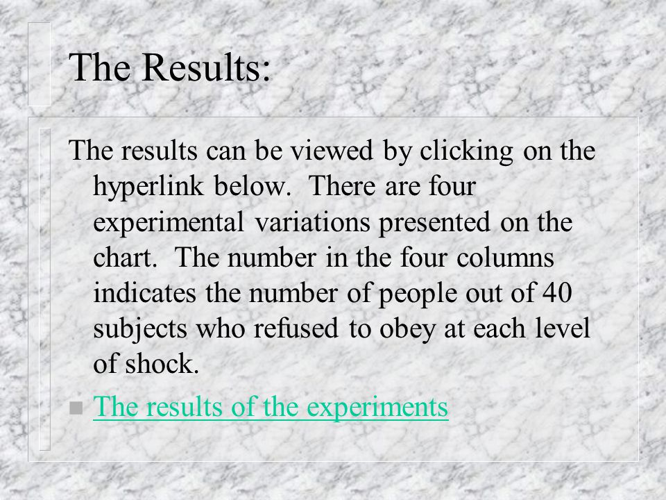The Results: The results can be viewed by clicking on the hyperlink below. There are four experimental variations presented on the chart. The number i