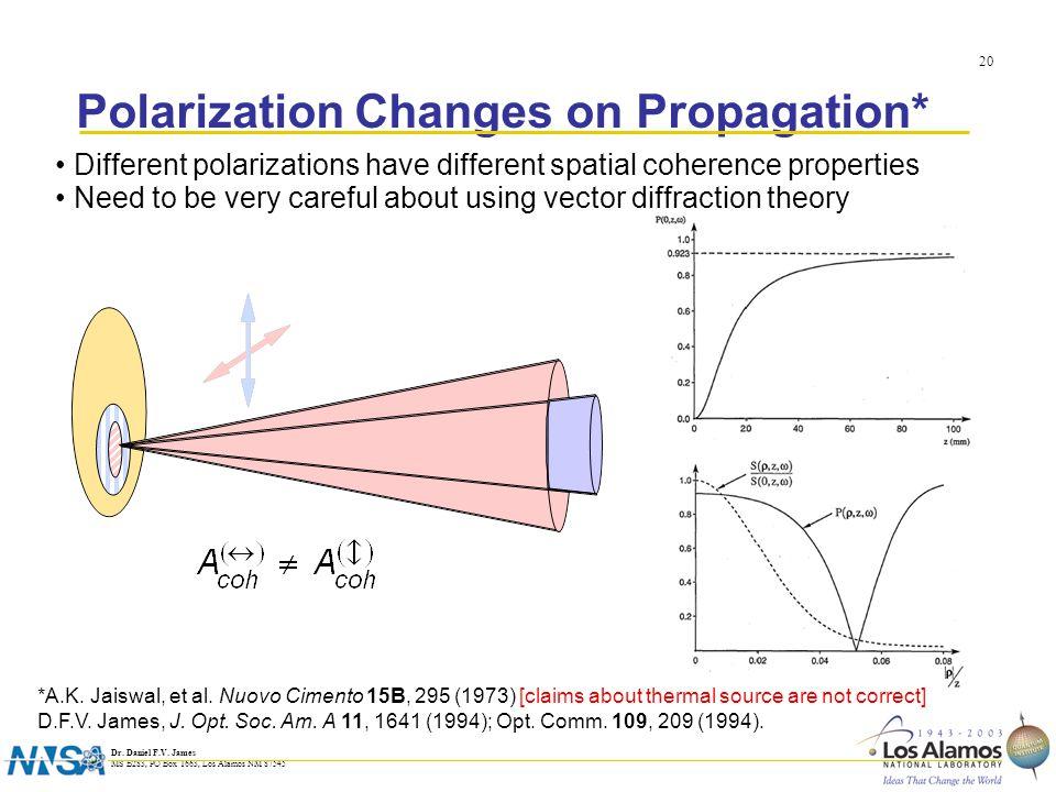 Dr. Daniel F.V. James MS B283, PO Box 1663, Los Alamos NM 87545 20 Polarization Changes on Propagation* Different polarizations have different spatial
