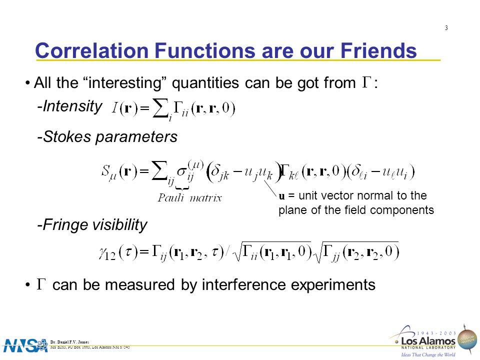 Dr.Daniel F.V. James MS B283, PO Box 1663, Los Alamos NM 87545 4 The Wolf Equations* * E.