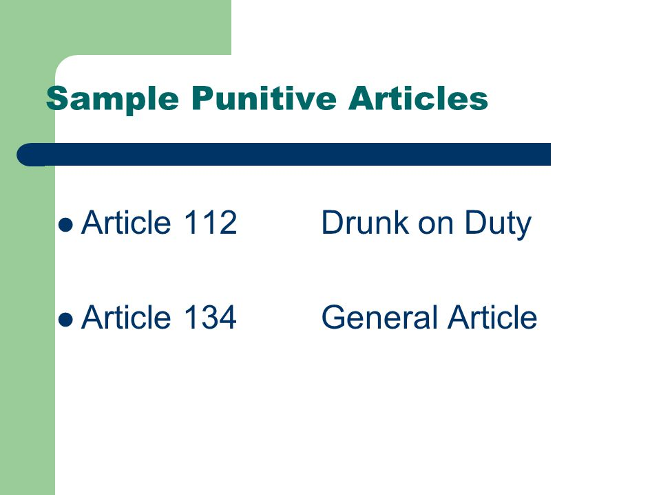 Sample Punitive Articles Article 95Resistance, Flight, Breach of Arrest, and Escape