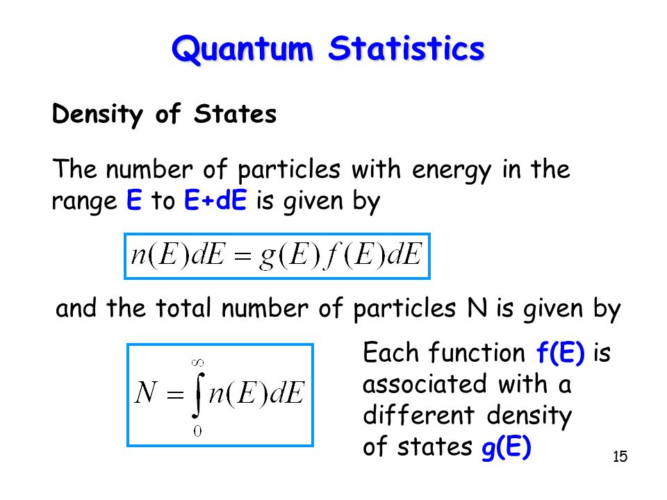 15 Quantum Statistics Density of States The number of particles with energy in the range E to E+dE is given by Each function f(E) is associated with a different density of states g(E) and the total number of particles N is given by