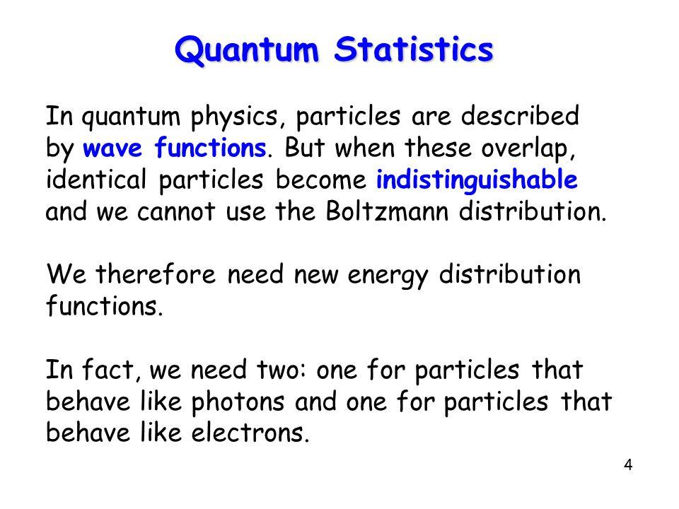 4 Quantum Statistics In quantum physics, particles are described by wave functions.