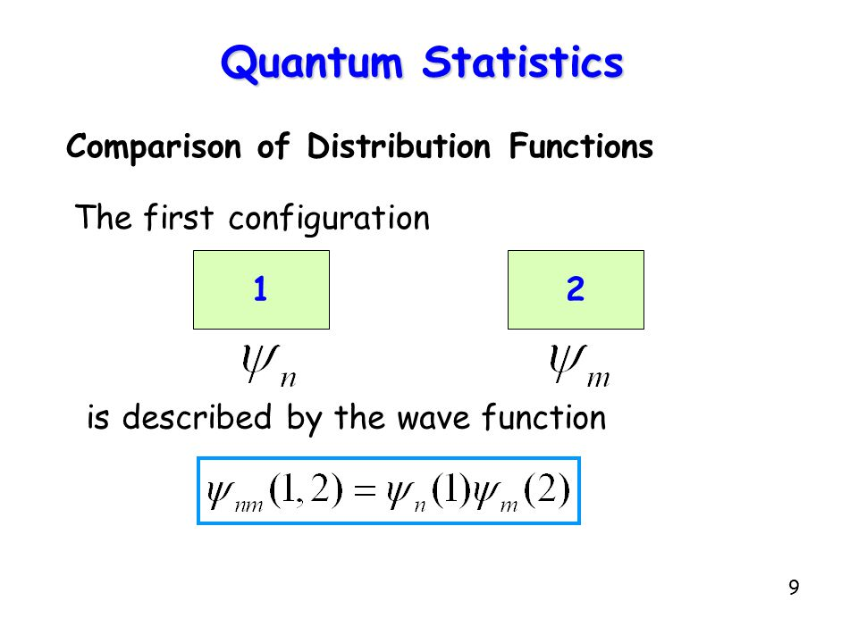 9 Quantum Statistics Comparison of Distribution Functions The first configuration 12 is described by the wave function
