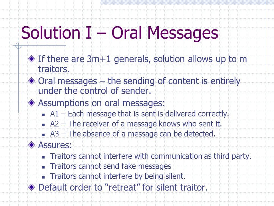 Oral Messages (Cont) Algorithm OM(0) Commander send his value to every lieutenant.