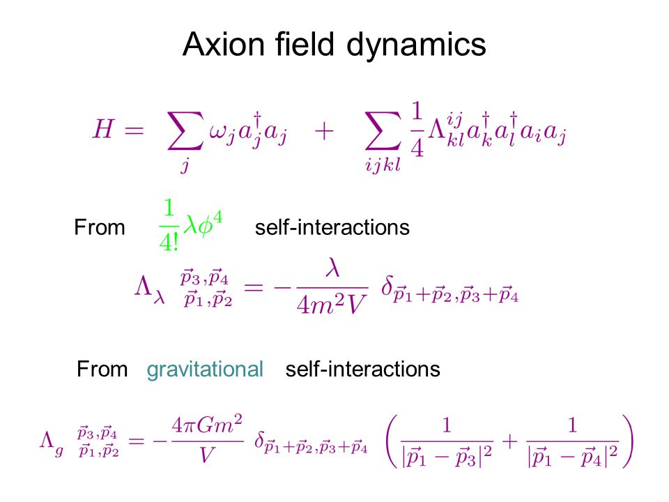 Axion field dynamics From self-interactions From gravitational self-interactions