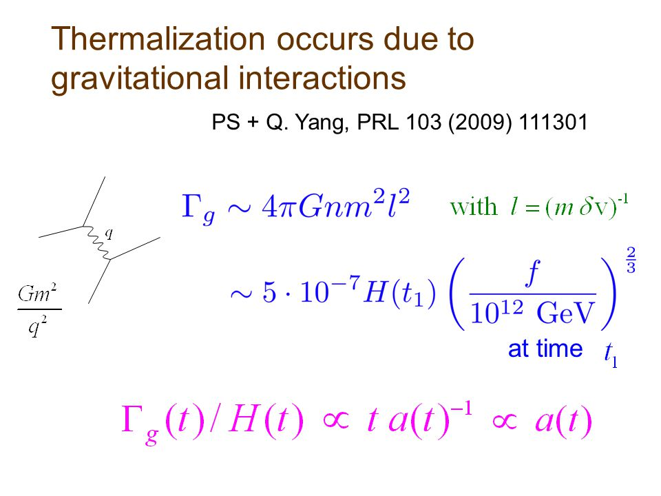Thermalization occurs due to gravitational interactions at time PS + Q. Yang, PRL 103 (2009) 111301