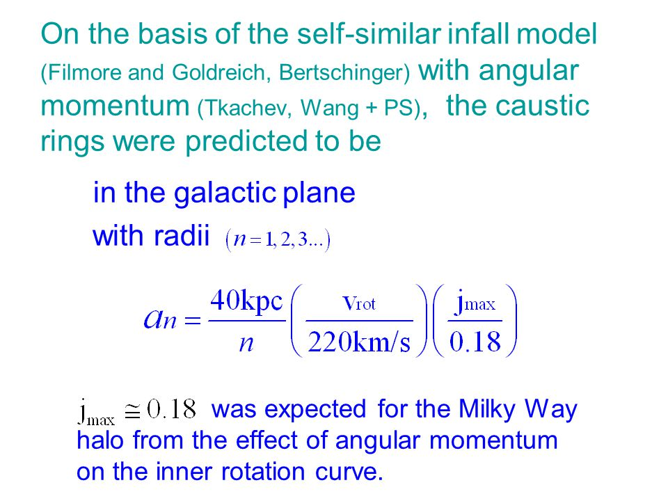 On the basis of the self-similar infall model (Filmore and Goldreich, Bertschinger) with angular momentum (Tkachev, Wang + PS), the caustic rings were predicted to be in the galactic plane with radii was expected for the Milky Way halo from the effect of angular momentum on the inner rotation curve.
