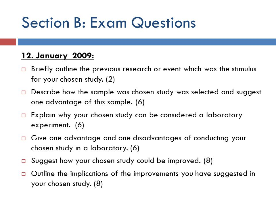 Section B: Exam Questions 12.