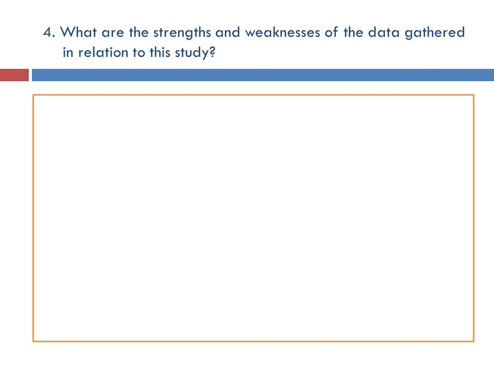 4. What are the strengths and weaknesses of the data gathered in relation to this study?