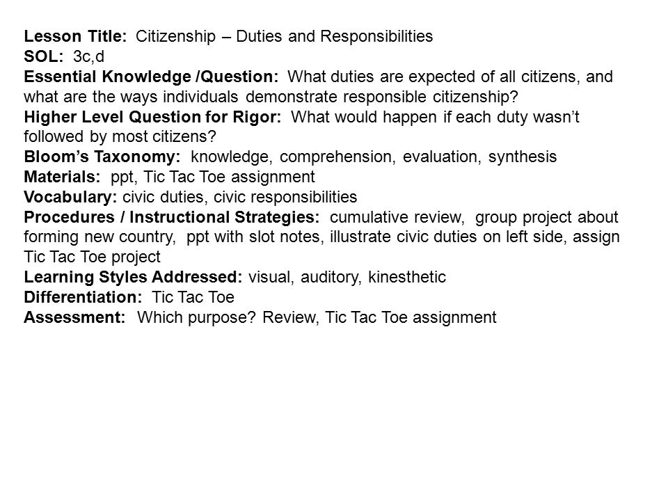 Lesson Title: Citizenship – Duties and Responsibilities SOL: 3c,d Essential Knowledge /Question: What duties are expected of all citizens, and what are the ways individuals demonstrate responsible citizenship.