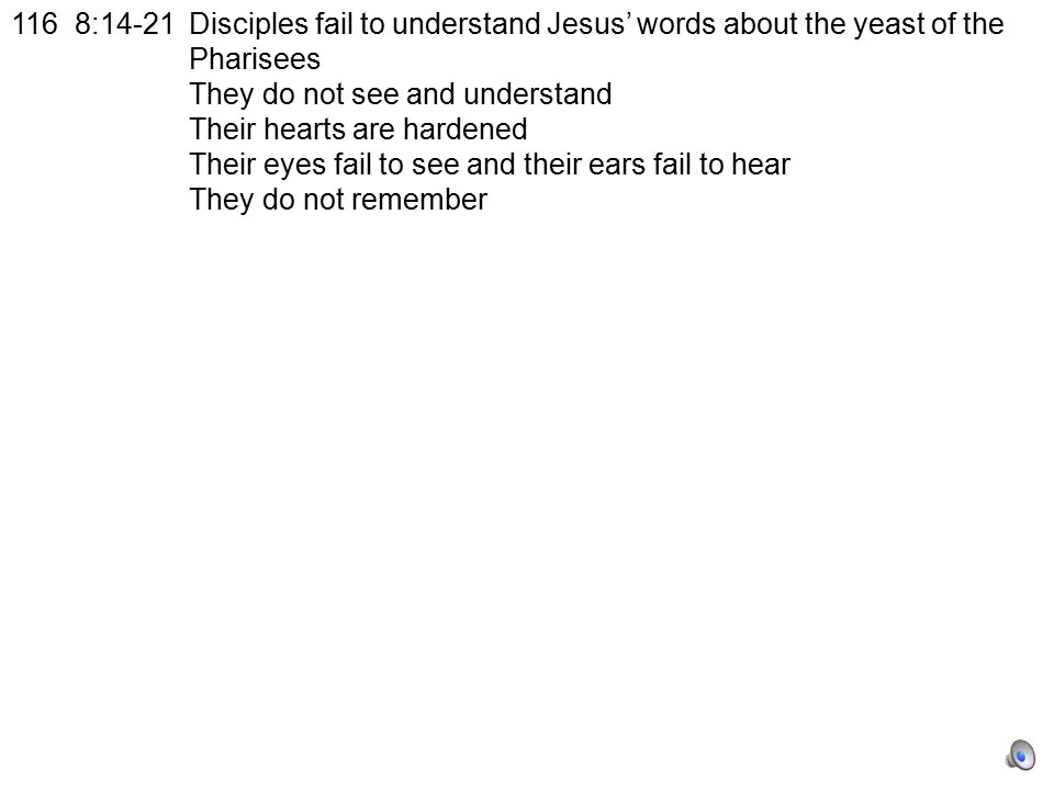 116 8:14-21Disciples fail to understand Jesus' words about the yeast of the Pharisees They do not see and understand Their hearts are hardened Their eyes fail to see and their ears fail to hear They do not remember