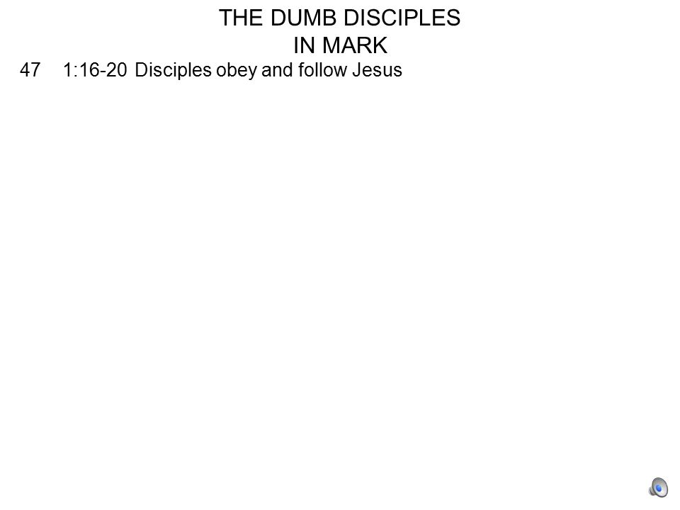 181 10:35-41James and John ask for precedence and the other ten are angry with them 225 14:27-31Disciples all deny that they will deny Jesus 226 14:37-42Disciples fall asleep three times when Jesus wants them to support him 227 14:50Disciples all desert Jesus 230 14:66-72Peter denies Jesus three times 246 16:8Women who see empty tomb do not say anything to anyone because they are afraid Final Score PositiveNegative 9 19