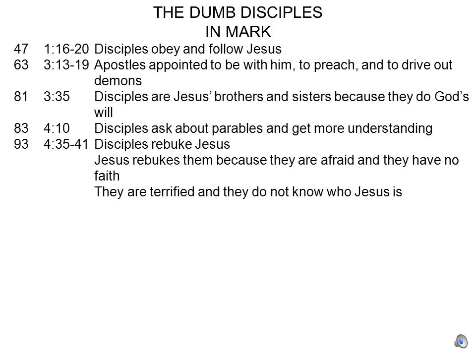 THE DUMB DISCIPLES IN MARK 47 1:16-20Disciples obey and follow Jesus 63 3:13-19Apostles appointed to be with him, to preach, and to drive out demons 81 3:35Disciples are Jesus' brothers and sisters because they do God's will 83 4:10Disciples ask about parables and get more understanding 93 4:35-41Disciples rebuke Jesus Jesus rebukes them because they are afraid and they have no faith They are terrified and they do not know who Jesus is 95 5:31Disciples rebuke Jesus for asking a dumb question