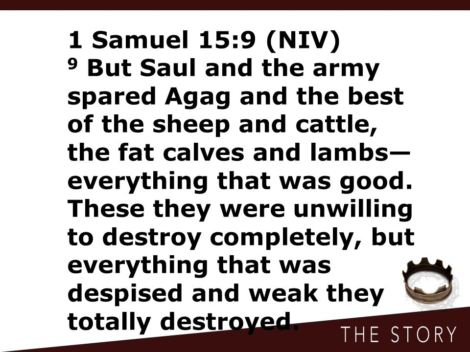 1 Samuel 15:9 (NIV) 9 But Saul and the army spared Agag and the best of the sheep and cattle, the fat calves and lambs— everything that was good. Thes