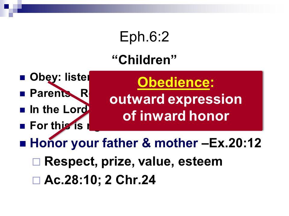 Eph.6:2 Children Obey: listen, hearken to a command Parents.
