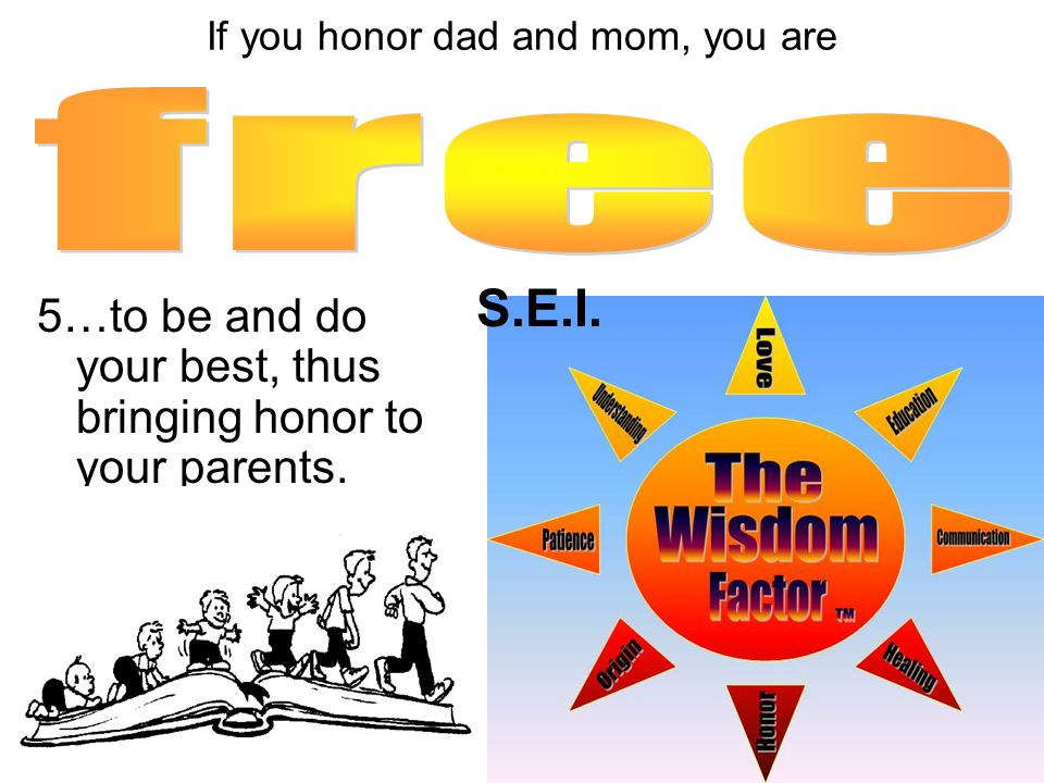 5…to be and do your best, thus bringing honor to your parents.