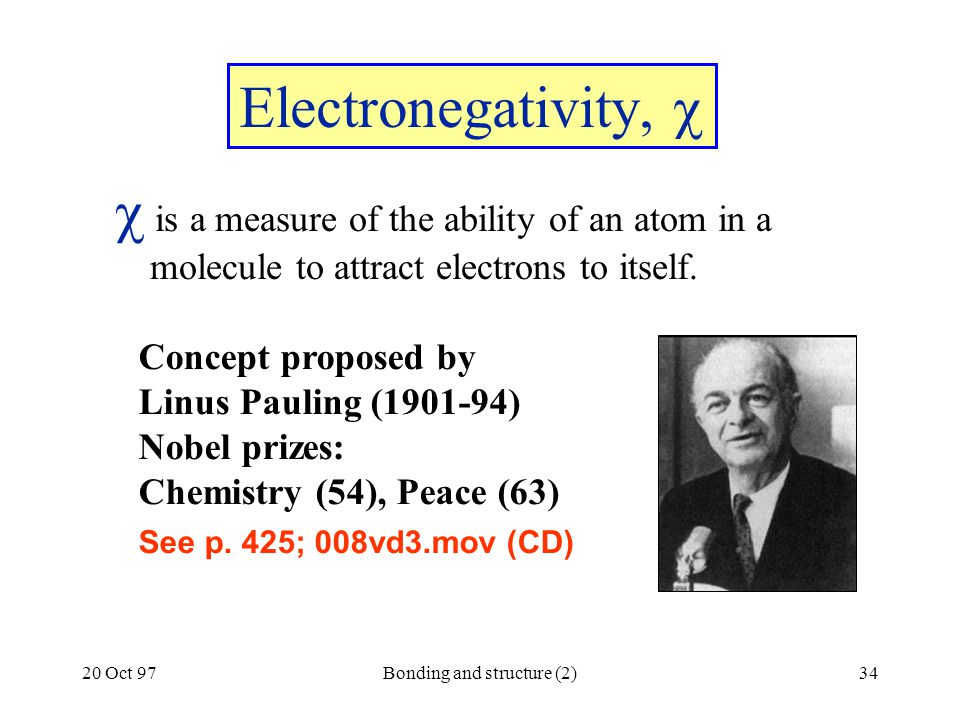 20 Oct 97Bonding and structure (2)34 Electronegativity,   is a measure of the ability of an atom in a molecule to attract electrons to itself. Conce