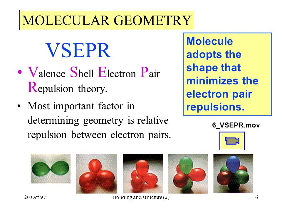 20 Oct 97Bonding and structure (2)6 VSEPR V alence S hell E lectron P air R epulsion theory. Most important factor in determining geometry is relative