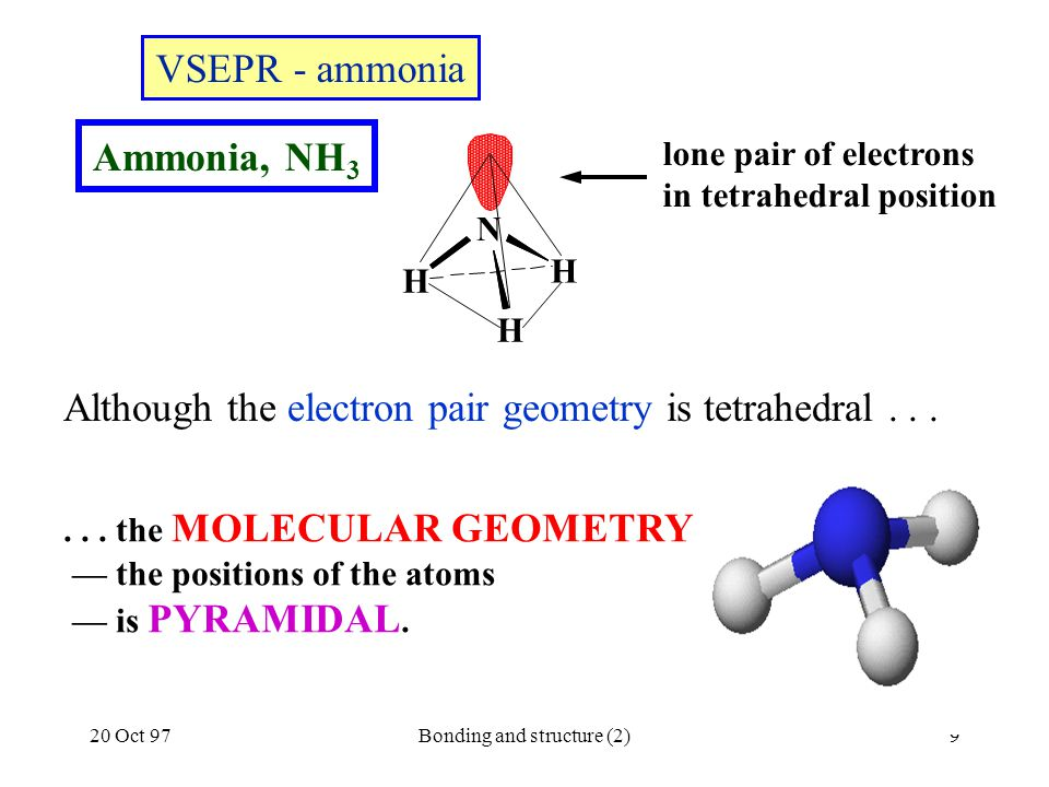 20 Oct 97Bonding and structure (2)9 Although the electron pair geometry is tetrahedral... VSEPR - ammonia Ammonia, NH 3... the MOLECULAR GEOMETRY — th