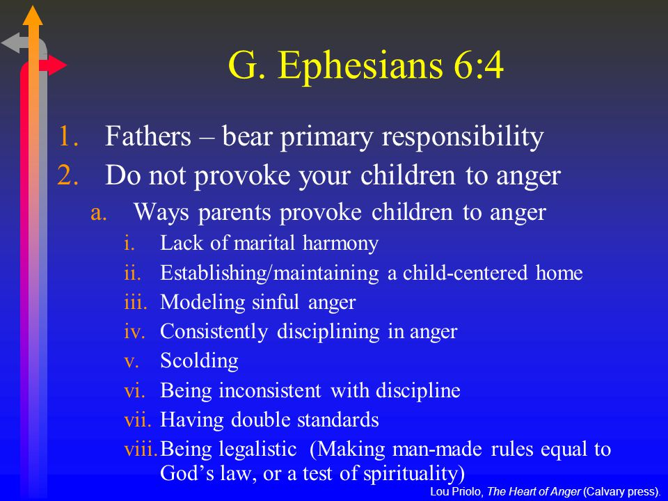 G. Ephesians 6:4 1.Fathers – bear primary responsibility 2.Do not provoke your children to anger a.Ways parents provoke children to anger i.Lack of ma